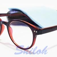 Frame Kacamata Kaca Mata Bulat Reza Rahadian Merah (Frame+Lensa)