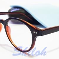 Frame Kacamata Kaca Mata Bulat Reza Rahadian Coklat (Frame+Lensa)