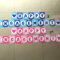 Banner Bunting Flag Happy Engagement Pink Biru