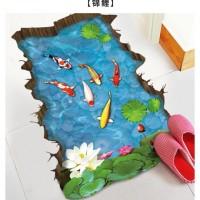 Wallpaper Stiker Lantai Hiasan Dinding Ikan Koi Kolam Biru 90 x 60cm