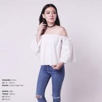 Ready Blouse Wanita Murah Surabaya Crop Sabrina Top White