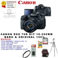 CANON EOS 70D + LENSA 18-200 IS BULT IN WIFI / KAMERA DSLR CANON 70D