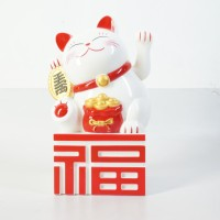 Jual Patung Kucing Fu Maneki Neko 21 Cm Putih Merah Beruntung Lucky Cat Murah