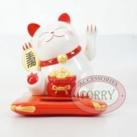 Jual Patung Kucing Lucky Cat Maneki Neko 7 Cm Solar Putih Merah Beruntung Murah