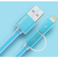 Jual Kabel 2in1 Micro USB To Lightning/Iphone Remax Aurora Original (Blue) Murah