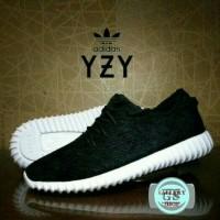 sepatu Adidas Yezzy Rajut full black Hitam Polos Kerja Sekolah