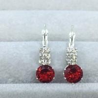 Anting Pesta SIlver Lapis Perak Batu Merah Bulat Kecil Elegan - BE035M