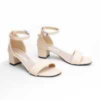 NEW Sepatu Wanita Block High Heels Ankle Strap MA01 Cream