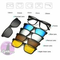 Frame Kacamata Clip On 5 Lensa Pria Wanita Cewe Cowo Terbaru Polarized