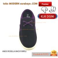 NO 36 ANDO ROSELLA BLACK PURPLE Sepatu Sandal Wanita Slip On Casual