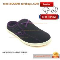 NO 37 ANDO ROSELLA BLACK PURPLE Sepatu Sandal Wanita Slip On Casual
