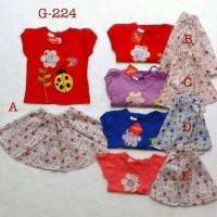 baju fashion setelan kaos rok katun anak bayi perempuan