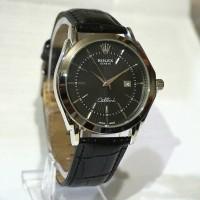 Rolex Cellini, Jam Tangan Kulit Casual Formal Pria Tali Hitam