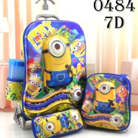 Jual Tas Sekolah Anak SD Trolley Troli Import 7D 4in1 Set 6 Roda Minion Murah