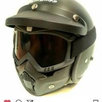 Jual Helm Retro Bogo Cargloss Hitam dof + Goggle Mask Masker Kacamata Murah