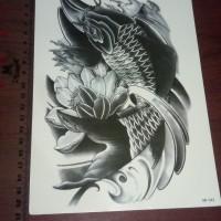 TEMPORARY TATTOO 20x15cm TATO TEMPORER IKAN KOI BLACK ORIENTAL IMPOR