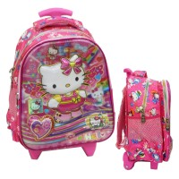 Tas Trolley Anak TK Import - Hello Kitty 5D Timbul Hologram - Pink
