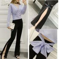 Setelan Stripe Blouse + Slit Pants Atasan Garis Biru Celana Panjang