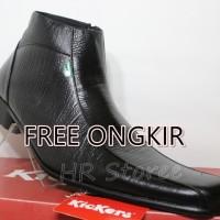 Jual Sepatu Kickers Pantofel Pria Kulit Asli Zipper Black Serat Kayu Murah