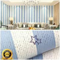 Jual Grosir Murah -Wallpaper Sticker Dinding Biru Putih Garis Berbintang Murah