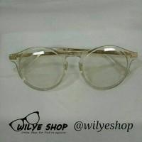 Kacamata korea Bulat Warna Putih Bening Murah