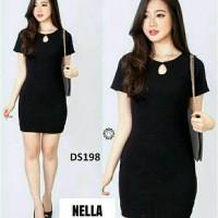 model baju mini dress terkini dan murah drees Nella Hitam
