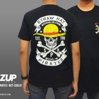 Jual Kaos Anime One Piece Straw Hat Pirates Skull Murah