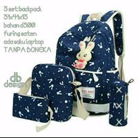 Backpack ransel 3in1 canvas bunny tas laptop sekolah kuliah kerja anak