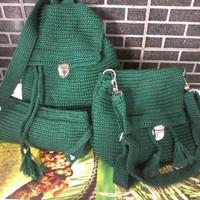 Tas RAJUT WANITA  3in1 tas ransel wanita satu set tas sekolah