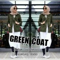 Jual [On Sale|Jual| Atasan Blouse Tunik Wanita Baju Muslim Green Coat Murah