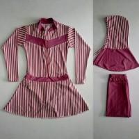 Baju Renang Muslimah anak SD Garis Pink