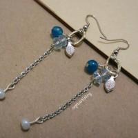 Jual Anting Batu Handmade Etnik Korea Murah - Ocean & Leaf Earrings - SE002 Murah