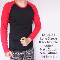 Kaos Lengan Panjang Model Gaul Long Sleeve Black Mix Red Raglan - 135
