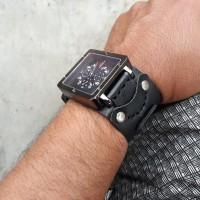 Jual Jam tangan analog tanggal cowok pria kotak hitam kulit handmade biker Murah