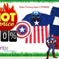 Baju Anak / Stelan / Kostum Captain America Model (4 in 1) 1-10 th