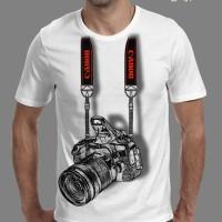 kaos t shirt pria 3d foto kamera canon putih distro murah terbaru