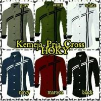 Kemeja/Hem Pria/Cowok/Laki-Laki Lengan Panjang Polos Cross Hoky Keren