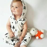 baju bayi zipper hoody jumpsuit