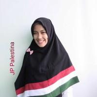 Jilbab Segi Empat Polos Wolfis Palestina Hijab Palestine Pelangi Hitam