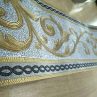 wallpaper border motif klasik silver