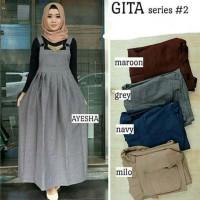 Baju Muslim Modern Gita Overall Jumpsuit Overal Muslim Panjang Dress