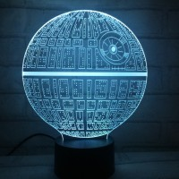 Jual 3D Star Wars Death Star Hologram LED Lampu Dekorasi Tidur Meja Murah
