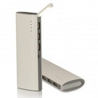 Power Bank Fast Charging LED Light 3 USB Output 10000mAh White