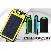 Jual Solar Waterproof Power Bank 5000mAh Yellow with Black Side Murah