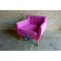 sofa single retro, sofa tamu scandinavian, kursi tamu minimalis jati