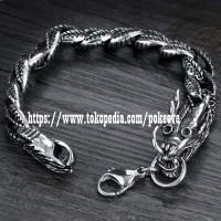 Jual Gelang Naga Pria Chinese Dragon Black Silver Titanium Steel Murah