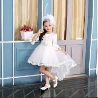 BAP.093 gaun pesta anak putih rok depan pendek belakang panjang