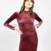 Dress Model Tight Neck Bahan Velvet/ Simpel/ Terbaru 42030