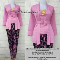 Set Floria Dusty Pink (Kebaya+Kain)/Kutubaru/Kebaya modern/Kain Lilit