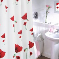 Crystal Polyester Shower Curtain Flower Garden Gorden Tirai 180x200cm